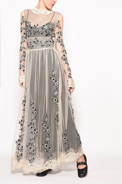 REDVALENTINO Long embroidered dress with lace collar