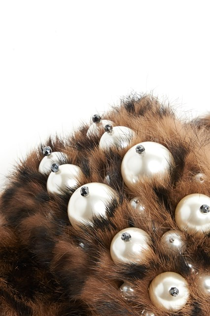 MIU MIU Leather leaopard print fur slippers with pearl accents
