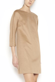 MAX MARA 'Uragano' crew-neck 3/4 sleeves camel dress