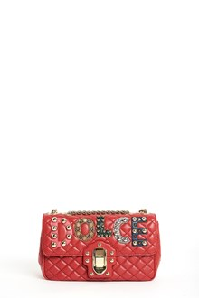DOLCE & GABBANA 'Lucia' leather shoulder bag with patch studs and chain