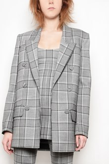 ALEXANDER WANG 'Check' printed double-breasted jacket with leather inserts
