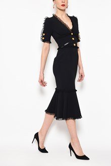 DOLCE & GABBANA V-neck 1/2 sleeves cady dress with lace inserts