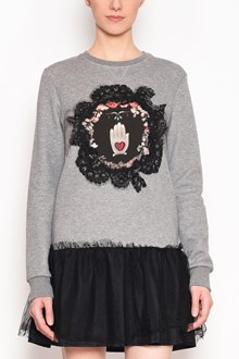 REDVALENTINO Long sweatshirt with lace and tulle at bottom