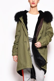 MR & MRS ITALY Canvas long parka dyed lapin lining ,hood with murmasky,hem in tone