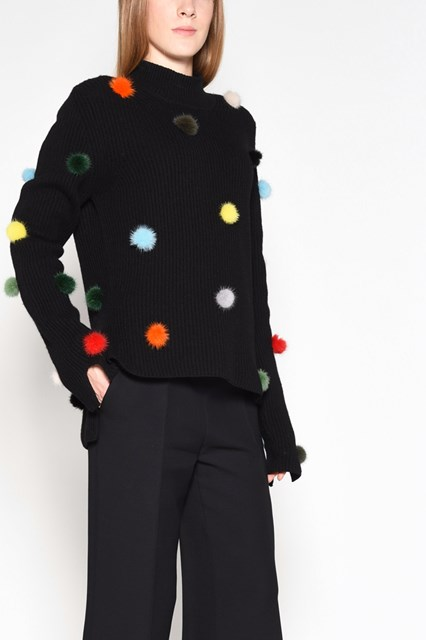 FENDI Crew-neck sweater with multicolor pom pom