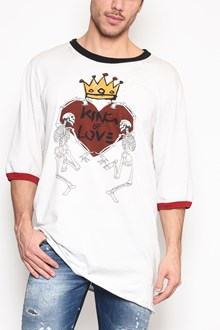DOLCE & GABBANA 'Skeletons + heart + crown' printed 3/4 sleeves t-shirt