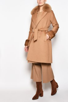 MAX MARA 'Nemi' camel coat with mink fur inserts and belt