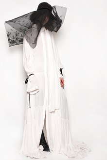 ANN DEMEULEMEESTER Long oversize dress with scarf and ribbons at cuffs