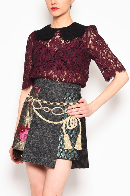 DOLCE & GABBANA 3/4 sleeves lace blouse with contrast lace collar