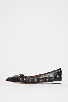 AQUAZZURA 'Cosmic star flat' leather 'star' studded flat shoes