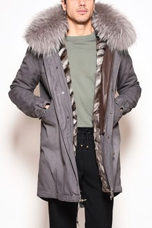 MR & MRS ITALY saline canvas long parka, hood in silver fox fur
