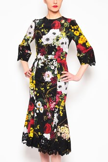 DOLCE & GABBANA Crew neck 'Flowers' printed 3/4 sleeves dress