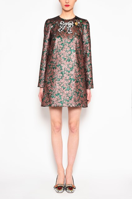 DOLCE & GABBANA Jaquard dress with bow patch and inserts
