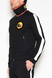 FENDI 'Fendi' printed sweatshirt with sidebands and polo neck