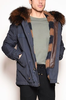 MR & MRS ITALY embroidery canvas short parka with striped wool lining with removable fox  fur hood