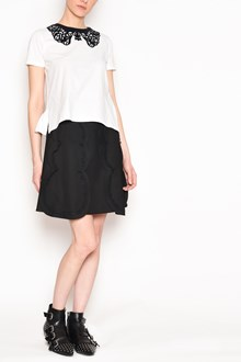 REDVALENTINO Cotton t-shirt with contrast velvet collar