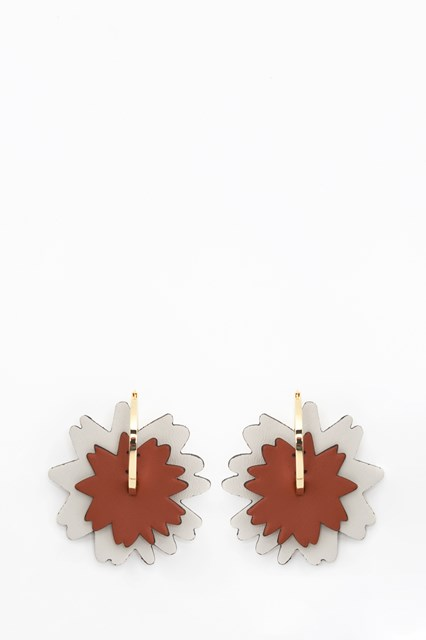 MARNI Circle earrings with flower leather  pendant