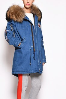 MR & MRS ITALY printed and embroidery blue denim midi parka ,hood removable Muramasky