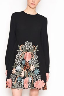 REDVALENTINO Crew-neck long sleeves dress with floral embroidery