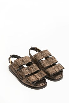 MARNI Leather laminate sandals with bows