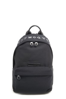 McQ ALEXANDER McQUEEN Cotton black backpack with ' print and front pocket. Zip closure and adustable straps