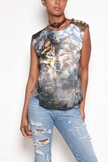 BALMAIN sleeveless t-shirt with 'Wolf' print and buttons on shoulder