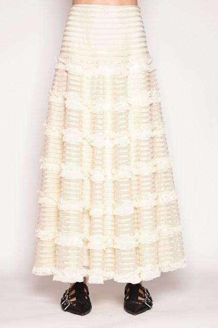 REDVALENTINO Organza skirt with flounces