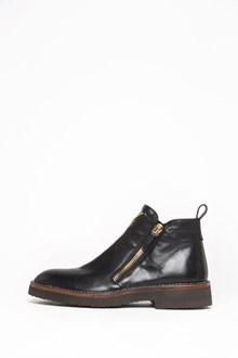 GIUSEPPE ZANOTTI DESIGN Leather ankle boot with side gold zipper