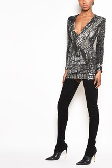 BALMAIN Lurex Mini Dress with sequins and wide v-neck