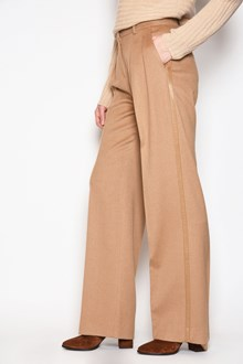 MAX MARA 'Lampone' camel trousers with side leather band. Drop 27