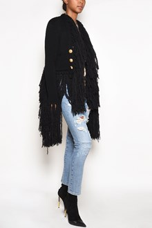 BALMAIN Cardigan with waist belt and fringes