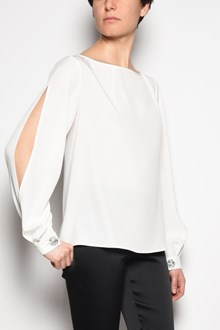 GIANLUCA CAPANNOLO 'Eagle' blouse with splits in the sleeves and jewel buttons on the cuffs