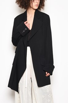 ANN DEMEULEMEESTER Wool and cotton long jacket with belt