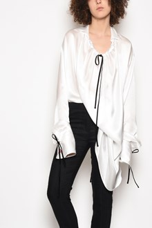 ANN DEMEULEMEESTER Oversize silk shirt with curled collar and contrast bow