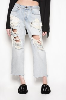 DENIM X ALEXANDER WANG 'Rival w' cropped destroyed fringed denim jeans