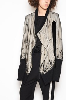 ANN DEMEULEMEESTER Wool and cotton asymmetrical oversize jacket with lace
