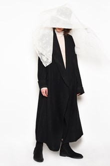 ANN DEMEULEMEESTER Long coat with vertical gold stripes and belt