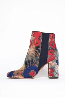 AQUAZZURA 'Velvet' embroidered booties with elastic band