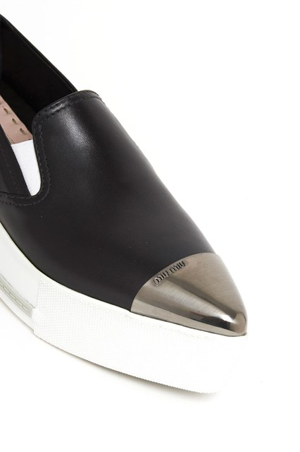 MIU MIU leather slip on sneakers with white contrasting wedge and metallic toe