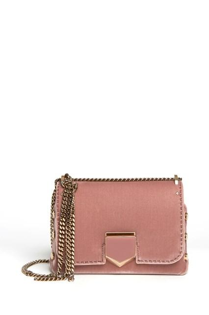 JIMMY CHOO 'Lockett' velvet shoulder bag