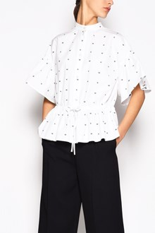 McQ ALEXANDER McQUEEN Cotton wlbow legnth blouse with flared out sleeves with drawstring waist and swallow print all over