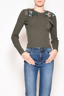 REDVALENTINO Wool sweater with patch and gold buttons on the shoulders