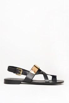 GIUSEPPE ZANOTTI DESIGN Leather sandal with gold plate