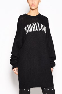 McQ ALEXANDER McQUEEN Sweater dress with embroidered 'Swallow' written on front and large sleeves