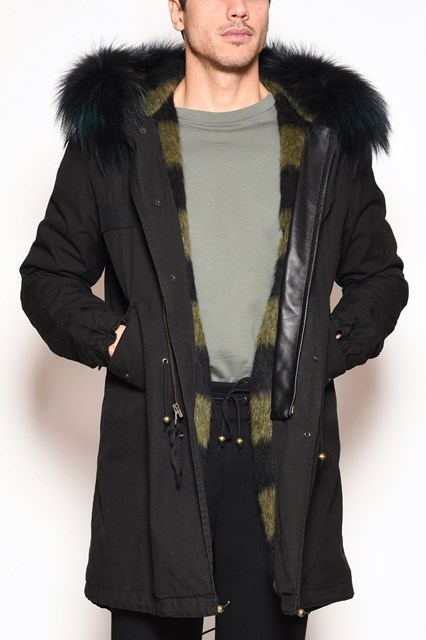 MR & MRS ITALY printed saline canvas long parka, hood in silver fox fur