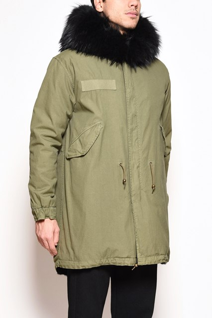 MR & MRS ITALY Cotton army green long parka with murmasky fur hoodie