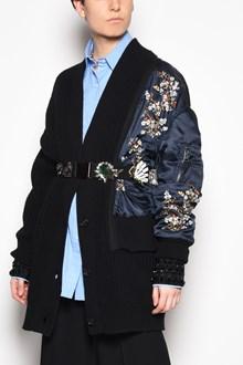 N°21 V-neck oversize cardigan with printed 'Bomber' detail