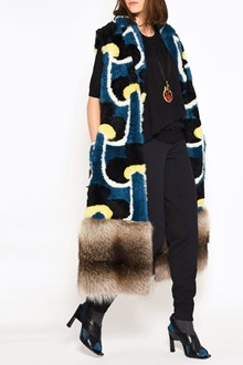 MARNI Multicolor mutton vest with marmot fur insert