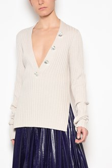 AVIU' WIde v-neck and swarowsky buttons cardigan