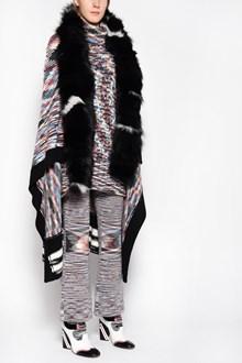 MISSONI Multicolor cape with fox fur collar